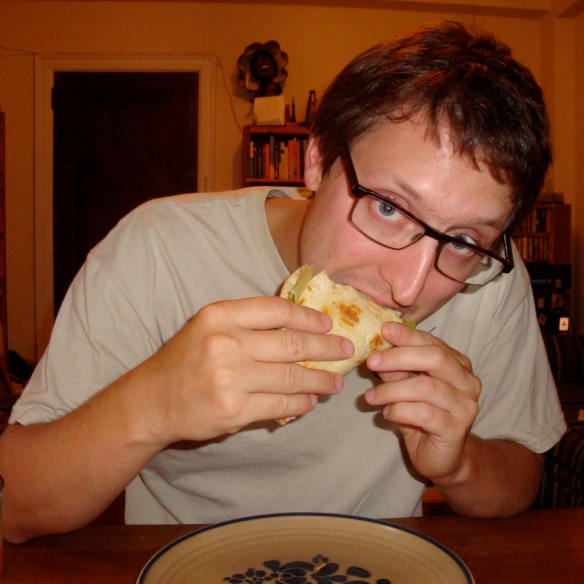 Glenn Eating a Pita